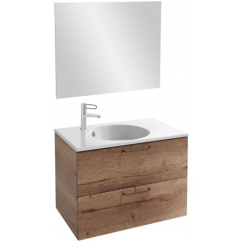 Мебель для ванной Jacob Delafon Odeon Rive Gauche 80 подвесная дуб табак с черными ручками