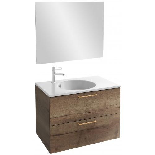 Мебель для ванной Jacob Delafon Odeon Rive Gauche 80 подвесная дуб табак с золотыми ручками
