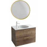 Мебель для ванной Jacob Delafon Odeon Rive Gauche 80 подвесная дуб табак с золотыми ручками и круглым зеркалом