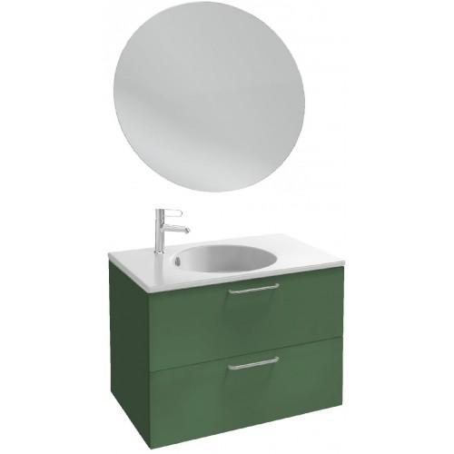 Мебель для ванной Jacob Delafon Odeon Rive Gauche 80 подвесная эвкалипт сатин с ручками хром и круглым зеркалом