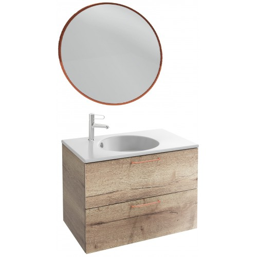 Мебель для ванной Jacob Delafon Odeon Rive Gauche 80 подвесная квебекский дуб с медными ручками и круглым зеркалом