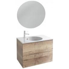 Мебель для ванной Jacob Delafon Odeon Rive Gauche 80 подвесная квебекский дуб с ручками хром и круглым зеркалом