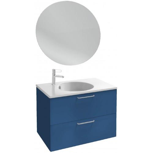 Мебель для ванной Jacob Delafon Odeon Rive Gauche 80 подвесная морской синий матовый с ручками хром и круглым зеркалом