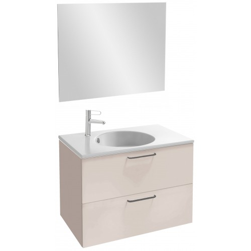 Мебель для ванной Jacob Delafon Odeon Rive Gauche 80 подвесная пыльная роза глянец с черными ручками