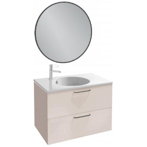 Мебель для ванной Jacob Delafon Odeon Rive Gauche 80 подвесная пыльная роза глянец с черными ручками и круглым зеркалом