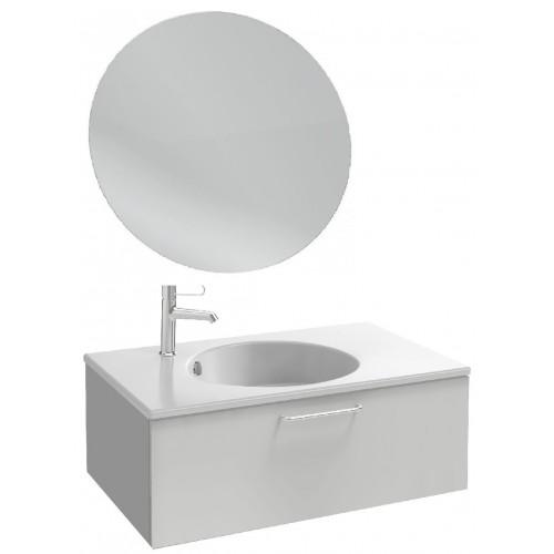 Мебель для ванной Jacob Delafon Odeon Rive Gauche 80 подвесная с 1-м ящиком белый блестящий лак с ручками хром и круглым зеркалом