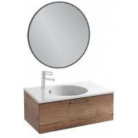 Мебель для ванной Jacob Delafon Odeon Rive Gauche 80 подвесная с 1-м ящиком дуб табак с черными ручками и круглым зеркалом