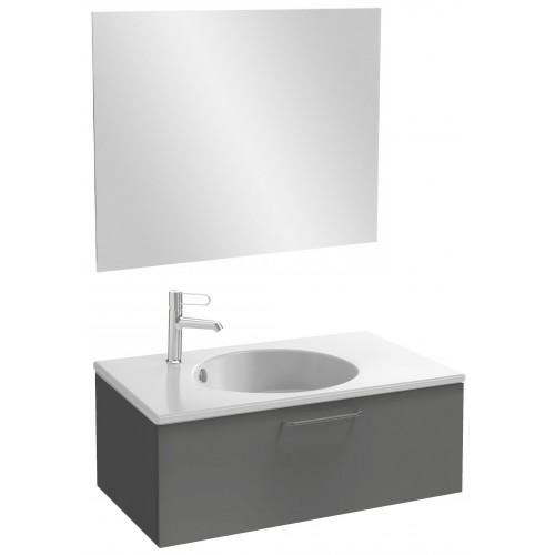 Мебель для ванной Jacob Delafon Odeon Rive Gauche 80 подвесная с 1-м ящиком серый антрацит с черными ручками
