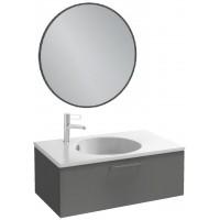 Мебель для ванной Jacob Delafon Odeon Rive Gauche 80 подвесная с 1-м ящиком серый антрацит с черными ручками и круглым зеркалом