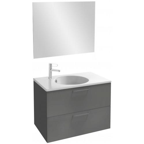 Мебель для ванной Jacob Delafon Odeon Rive Gauche 80 подвесная серый антрацит с черными ручками