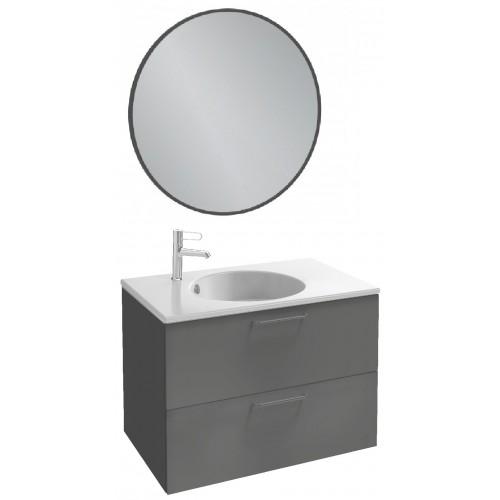 Мебель для ванной Jacob Delafon Odeon Rive Gauche 80 подвесная серый антрацит с черными ручками и круглым зеркалом