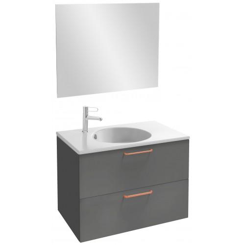 Мебель для ванной Jacob Delafon Odeon Rive Gauche 80 подвесная серый антрацит с медными ручками