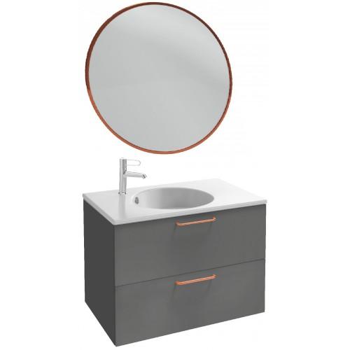 Мебель для ванной Jacob Delafon Odeon Rive Gauche 80 подвесная серый антрацит с медными ручками и круглым зеркалом
