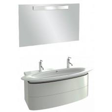 Мебель для ванной Jacob Delafon Presqu'ile 130 подвесная с 2мя ящиками и 2мя смесителями белая