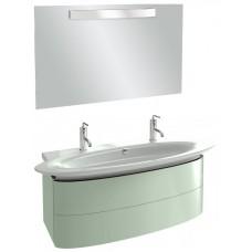 Мебель для ванной Jacob Delafon Presqu'ile 130 подвесная с 2мя ящиками и 2мя смесителями нежно-оливковая
