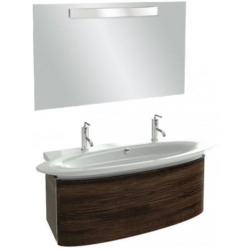 Мебель для ванной Jacob Delafon Presqu'ile 130 подвесная с 2мя ящиками и 2мя смесителями палисандр шпон