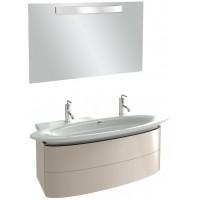 Мебель для ванной Jacob Delafon Presqu'ile 130 подвесная с 2мя ящиками и 2мя смесителями серый титан