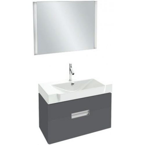 Мебель для ванной Jacob Delafon Reve 80 подвесная серый антрацит с 2-мя ящиками