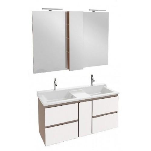 Мебель для ванной Jacob Delafon Soprano 140 раковина с встроенным смесителем белый глянец