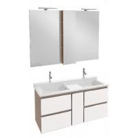 Мебель для ванной Jacob Delafon Soprano 140 раковина с встроенным смесителем с выдвижным ящиком белый глянец