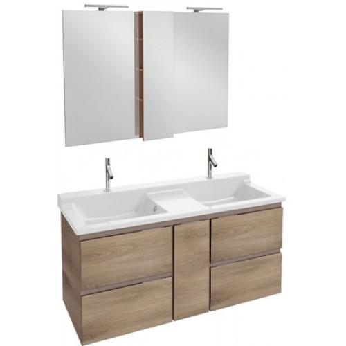 Мебель для ванной Jacob Delafon Soprano 140 раковина с встроенным смесителем с выдвижным ящиком квебекский дуб