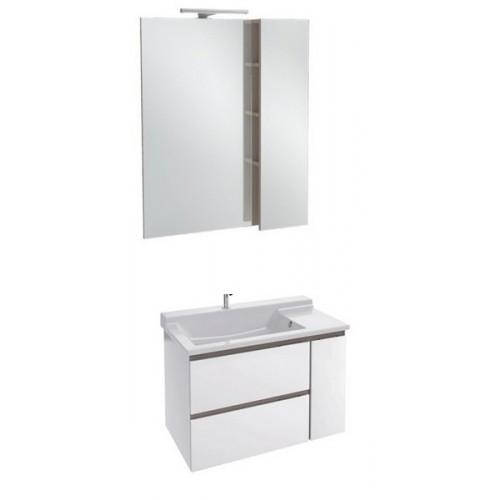 Мебель для ванной Jacob Delafon Soprano 80 раковина с встроенным смесителем белый глянец