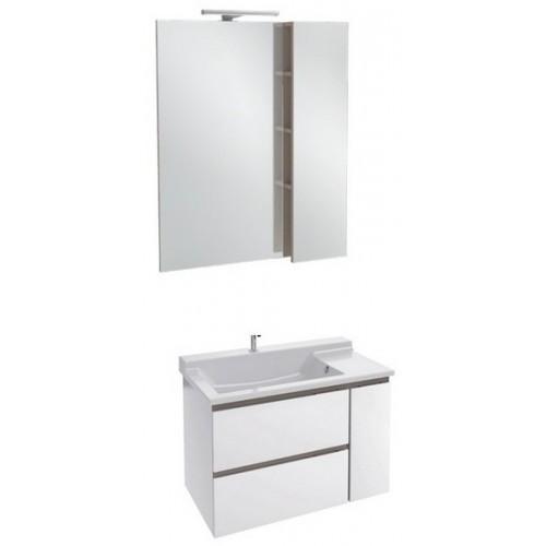 Мебель для ванной Jacob Delafon Soprano 80 раковина с встроенным смесителем с выдвижным ящиком белый глянец