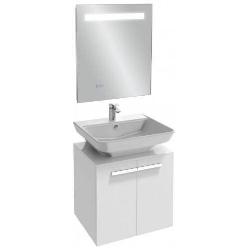 Мебель для ванной Jacob Delafon Struktura 60 подвесная белый блестящий с зеркалом с подсветкой