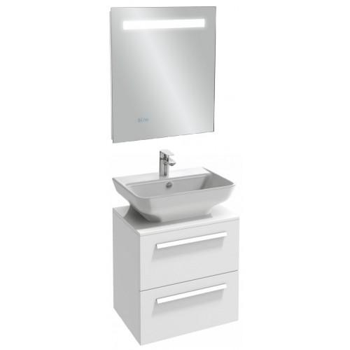 Мебель для ванной Jacob Delafon Struktura 60 подвесная с 2-мя ящиками белый блестящий с зеркалом с подсветкой