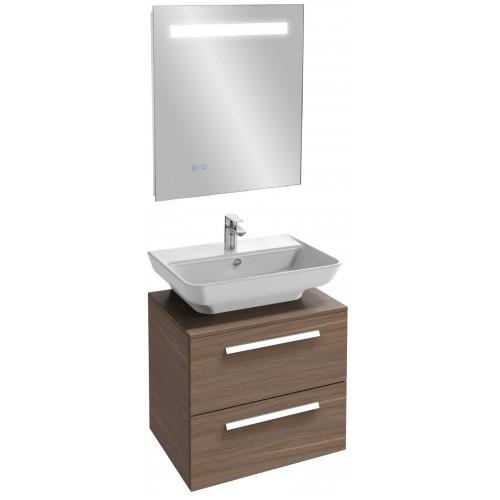 Мебель для ванной Jacob Delafon Struktura 60 подвесная с 2-мя ящиками ореховое дерево с зеркалом с подсветкой