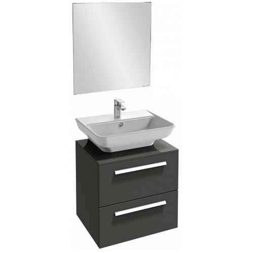 Мебель для ванной Jacob Delafon Struktura 60 подвесная с 2-мя ящиками серый антрацит