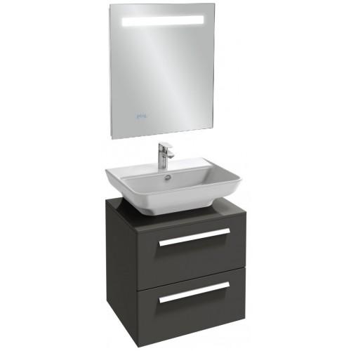 Мебель для ванной Jacob Delafon Struktura 60 подвесная с 2-мя ящиками серый антрацит с зеркалом с подсветкой