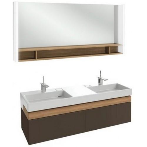 Мебель для ванной Jacob Delafon Terrace 150 подвесная светло-коричневая глянцевая раковина с подсветкой