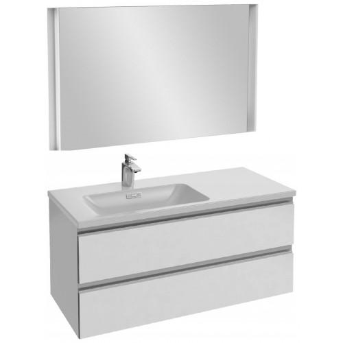 Мебель для ванной Jacob Delafon Vox 100 подвесная левая белая блестящая с зеркалом с подсветкой
