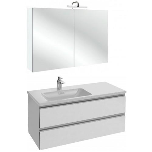 Мебель для ванной Jacob Delafon Vox 100 подвесная левая белая блестящая с зеркалом-шкафом
