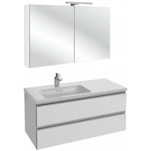 Мебель для ванной Jacob Delafon Vox 100 подвесная левая белый блестящий лак с зеркалом-шкафом