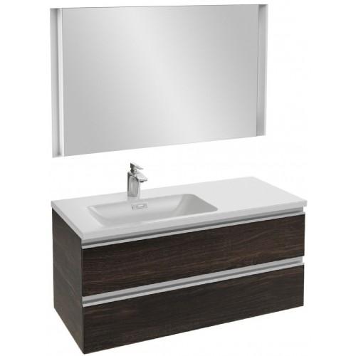 Мебель для ванной Jacob Delafon Vox 100 подвесная левая черное дерево с зеркалом с подсветкой