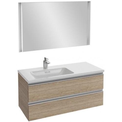 Мебель для ванной Jacob Delafon Vox 100 подвесная левая квебекский дуб с зеркалом с подсветкой