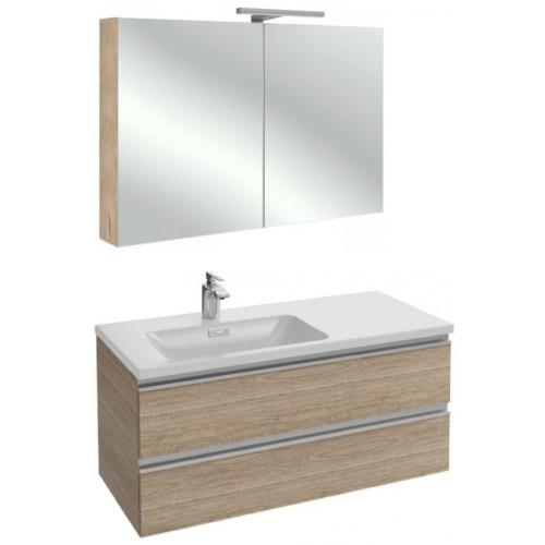 Мебель для ванной Jacob Delafon Vox 100 подвесная левая квебекский дуб с зеркалом-шкафом