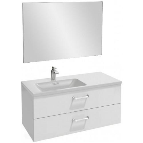 Мебель для ванной Jacob Delafon Vox 100 подвесная левая с 2-мя ящиками с изогнутой ручкой белая блестящая