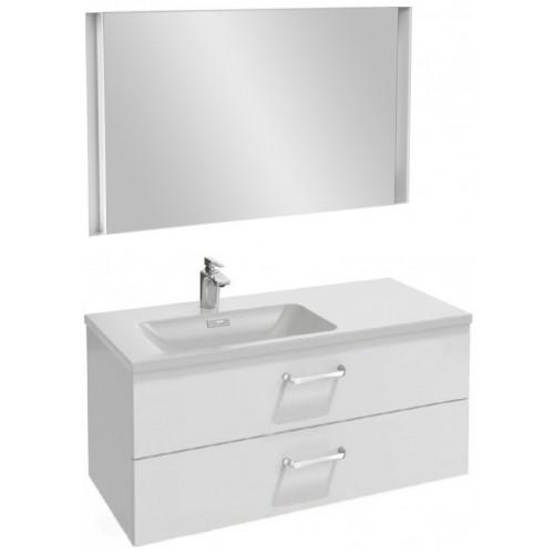 Мебель для ванной Jacob Delafon Vox 100 подвесная левая с 2-мя ящиками с изогнутой ручкой белая блестящая с зеркалом с подсветкой