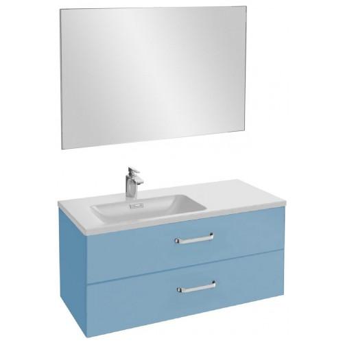 Мебель для ванной Jacob Delafon Vox 100 подвесная левая с 2-мя ящиками с изогнутой ручкой матовый аквамарин