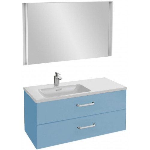 Мебель для ванной Jacob Delafon Vox 100 подвесная левая с 2-мя ящиками с изогнутой ручкой матовый аквамарин с зеркалом с подсветкой