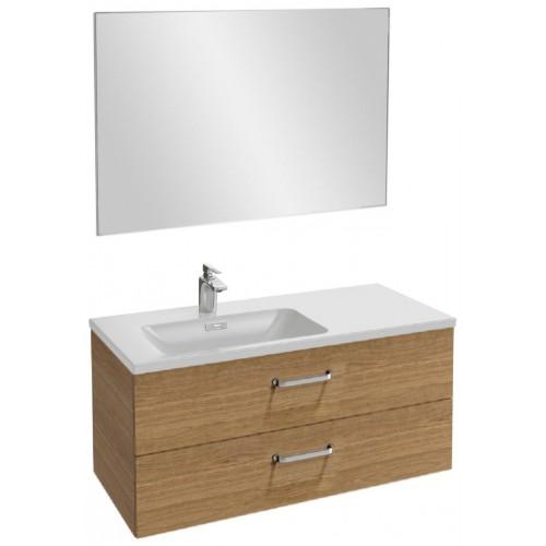 Мебель для ванной Jacob Delafon Vox 100 подвесная левая с 2-мя ящиками с изогнутой ручкой ореховое дерево