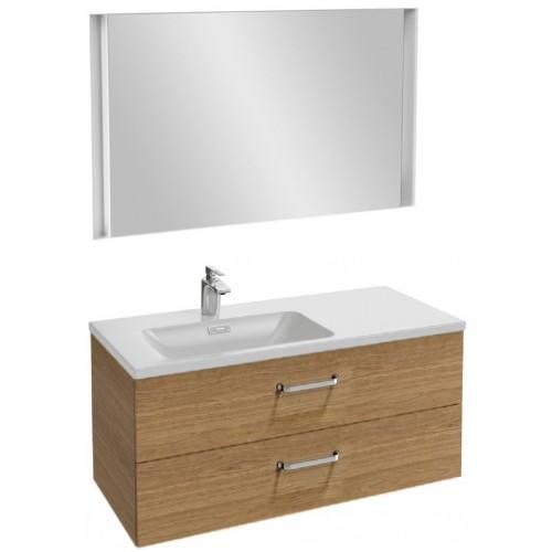 Мебель для ванной Jacob Delafon Vox 100 подвесная левая с 2-мя ящиками с изогнутой ручкой ореховое дерево с зеркалом с подсветкой