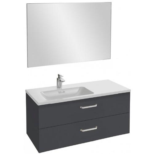 Мебель для ванной Jacob Delafon Vox 100 подвесная левая с 2-мя ящиками с изогнутой ручкой серый антрацит глянцевый