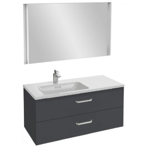 Мебель для ванной Jacob Delafon Vox 100 подвесная левая с 2-мя ящиками с изогнутой ручкой серый антрацит глянцевый с зеркалом с подсветкой