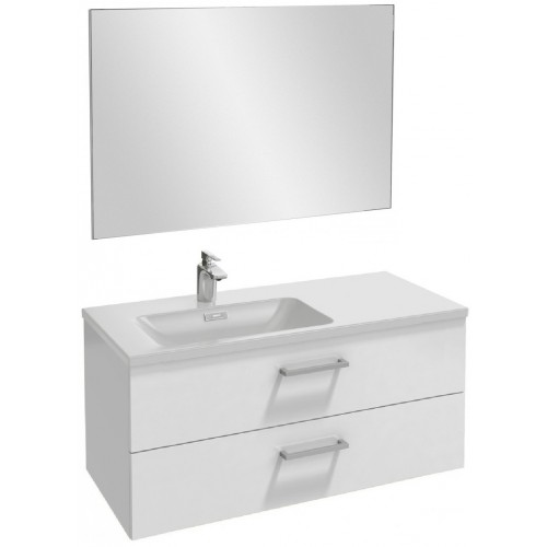 Мебель для ванной Jacob Delafon Vox 100 подвесная левая с 2-мя ящиками с прямоугольной ручкой белый блестящий лак