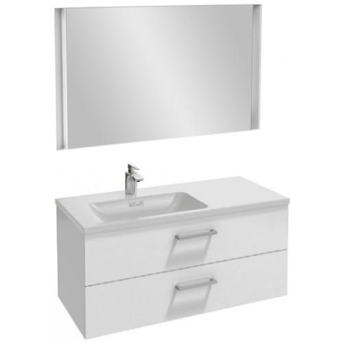 Мебель для ванной Jacob Delafon Vox 100 подвесная левая с 2-мя ящиками с прямоугольной ручкой белый блестящий лак с зеркалом с подсветкой
