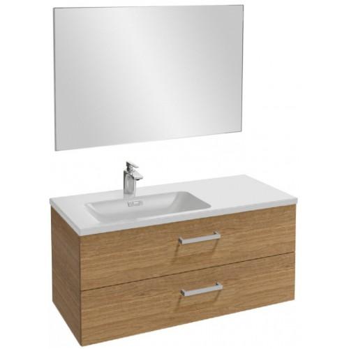 Мебель для ванной Jacob Delafon Vox 100 подвесная левая с 2-мя ящиками с прямоугольной ручкой ореховое дерево